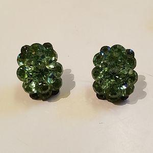 Emerald Rhinestone Statement Earrings